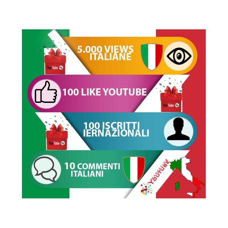 """Pacchetto marketing per YouTube """"Bronze Italia"""""""